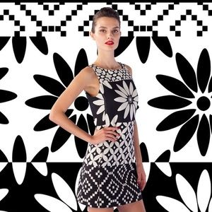 Desigual black & white Flower graphic dress